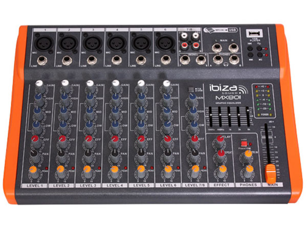 Ibiza Sound MX801 8 kanaals stage mixer studio mengpaneel