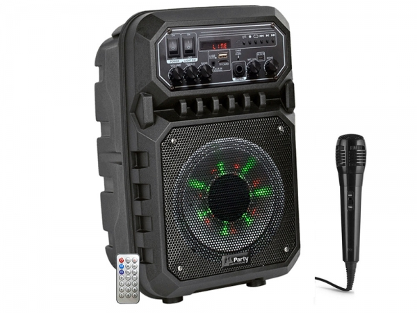 "Party Sound PARTY-6LED MKII mobiele speaker 6.5"" 200W met Bluetooth, USB en accu"