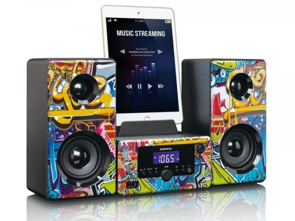 Lenco MC-020 Grafitti stereo set met FM radio, bluetooth, USB en AUX ingang