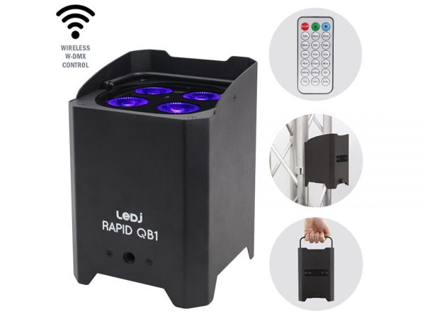 LEDJ Rapid QB1 HEX IP battery powered uplighter