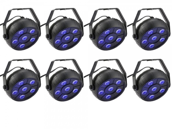 Party Light 8x 9W RGB LED PAR spots 3-in-1 wash effect