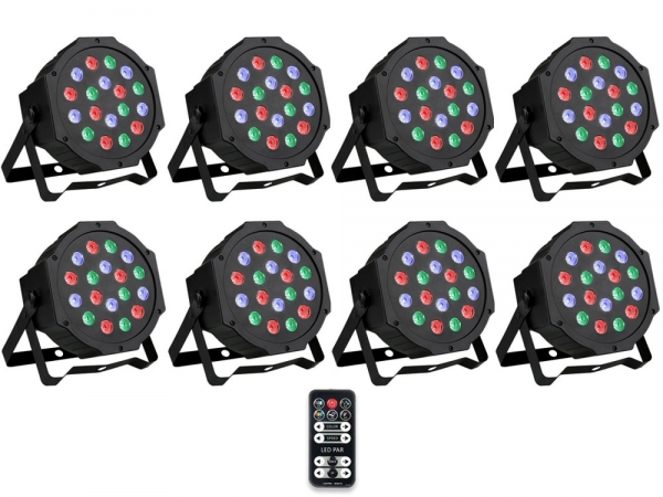 Ibiza Light 8x 18W RGB LED PAR spots 3-in-1 wash effect DMX met afstandsbediening