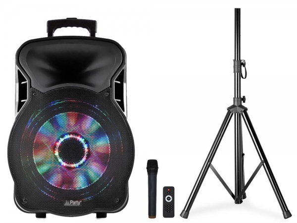 "Party Sound Moovy15 Mobiele Bluetooth PA Luidspreker box 15"" 700W + gratis statief"
