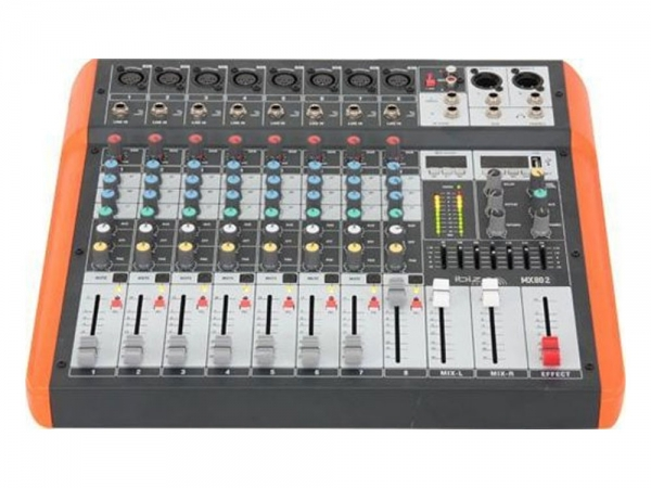 Ibiza Sound MX802 8 kanaals stage mixer studio mengpaneel met USB en Bluetooth