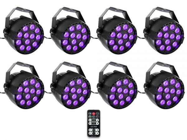 Ibiza Light 8x 36W RGB LED PAR spots 3-in-1 wash effect DMX met afstandsbediening