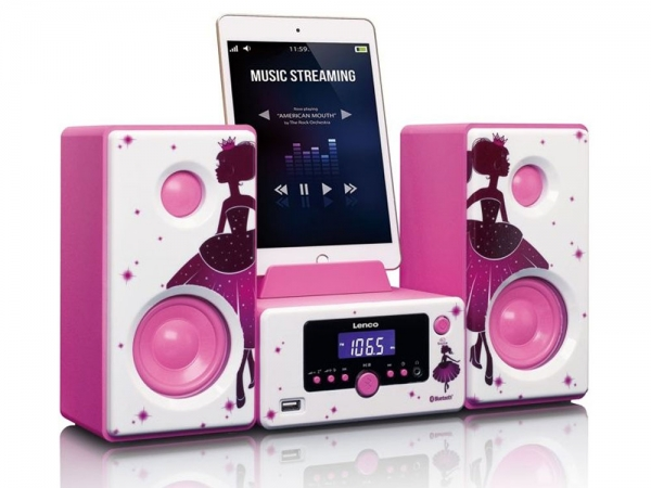Lenco MC-020 Prinses stereo set met FM radio, bluetooth, USB en AUX ingang