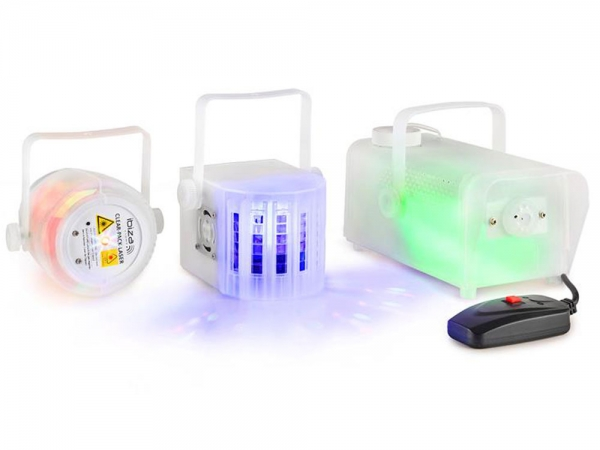 Ibiza Light Clear-Pack lichteffecten set laser, derby en rookmachine