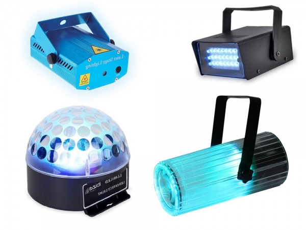 Party Light complete licht set met moonflower, astro, strobo en laser
