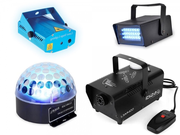 Party Light complete licht set met rookmachine, astro, strobo en laser