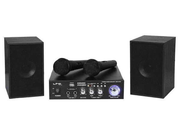LTC Audio KARAOKE-STAR2MKII bluetooth karaoke set met USB/SD MP3 speler en 2 microfoons