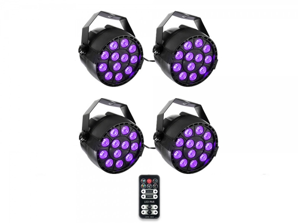 Ibiza Light 4x 36W RGB LED PAR spots 3-in-1 wash effect DMX met afstandsbediening
