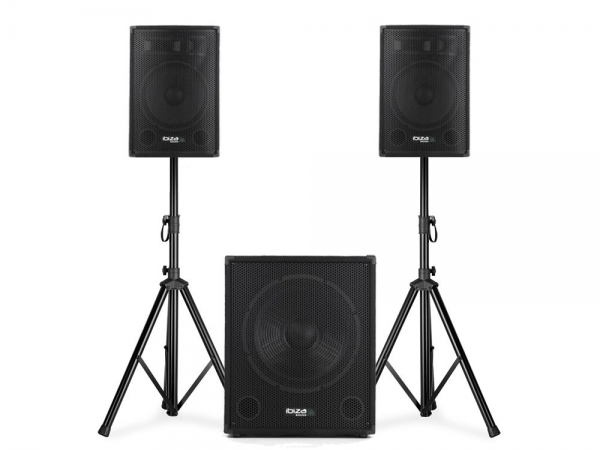 Ibiza Sound CUBE1508 actieve 2.1 speaker subwoofer set 1200W