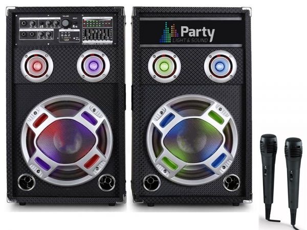"Party Sound PARTY-KARAOKE12 actieve bluetooth karaoke PA speakers 12"" 1200W + 2 microfoons"