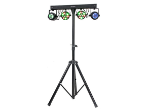 Ibiza Light DJLIGHT60 licht standaard met 2 RGBW par cans + 2RGBWA moonflowers