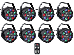 Ibiza Light 8x 12W RGBW LED PAR spots 3-in-1 wash effect DMX met afstandsbediening