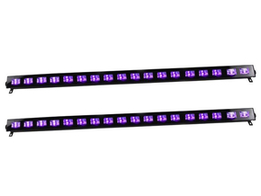 Ibiza Light LED-UVBAR18-2 wash blacklight 18x 3W 2 pack
