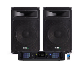 "Ibiza Sound Star10b-700 DJ luidspreker versterker bluetooth + USB/SD set 10"" 1400W"