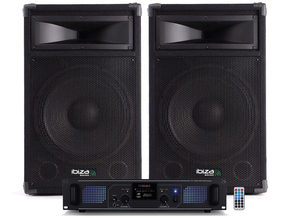 "Ibiza Sound Star15B-1200 DJ luidspreker versterker bluetooth + USB/SD set 15"" 2400W"