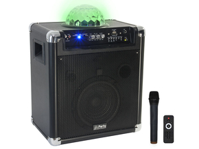 "Party Sound PARTY-KUBE300VHF mobiele speaker 8"" 300W met Bluetooth, USB en accu"