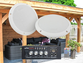 Adastra Overkapping 2 plafond speakerset incl. bluetooth versterker 2x 25W