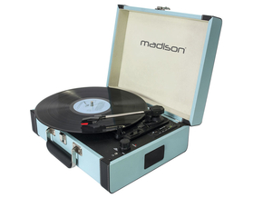 Madison MAD-RETROCASE-BLU vintage draaitafelkoffer met bluetooth USB/SD speler en recorder