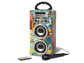 Pure Acoustics MCP-20 portable karaoke bluetooth systeem met USB/SD/FM radio Grafitti