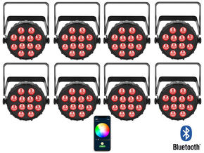 Chauvet DJ 8x 42W RGBA LED PAR spots 4-in-1 wash effect met Bluetooth bediening