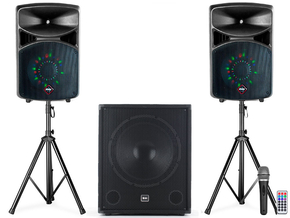 "Alecto PAS-215LED SET portable geluidsset met bluetooth en USB/SD speler + 18"" subwoofer 2600W"
